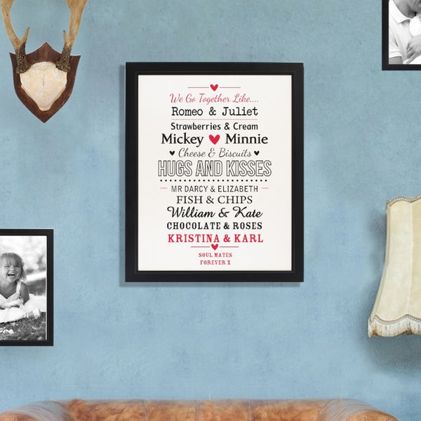 Personalised We Go Together Like.... Black Poster Frame
