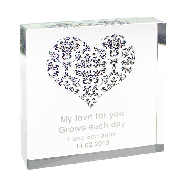 Damask Black Heart Large Crystal Token