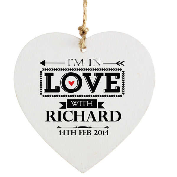 Personalised In Love With Wooden Heart Decoration