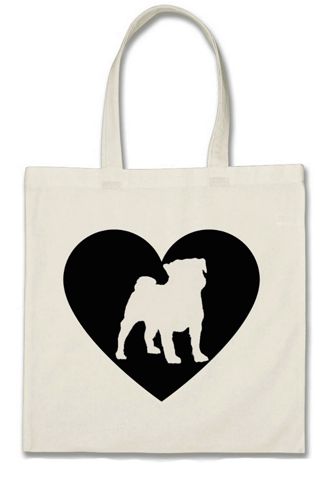 "Cotton Tote Bag - ""I Love My Pug"""