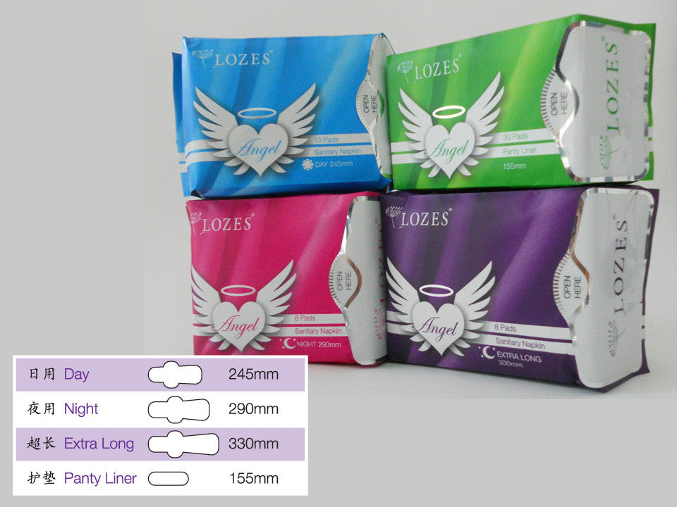 LOZES Angel 3 in 1 Anti-Bacteria Sanitary Napkin with Negatives Ion, Nano Silver, Far infrared ray
