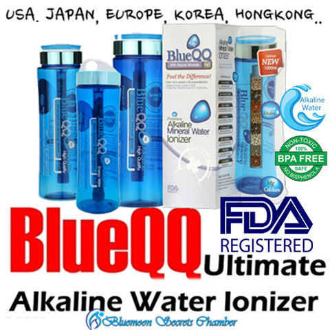 USA BLUEQQ Portable Alkaline Mineral Water Ionizer 700ml/1000ml Bottle/Cartridge★天然礦物質鹼性離子水