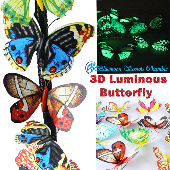 3D Artificial Luminous Glowing  Butterfly Fridge Magnet/3D夜光蝴蝶贴 仿真立体蝴蝶 冰箱贴 客厅卧室墙贴 - Bluemoon Secrets Chamber