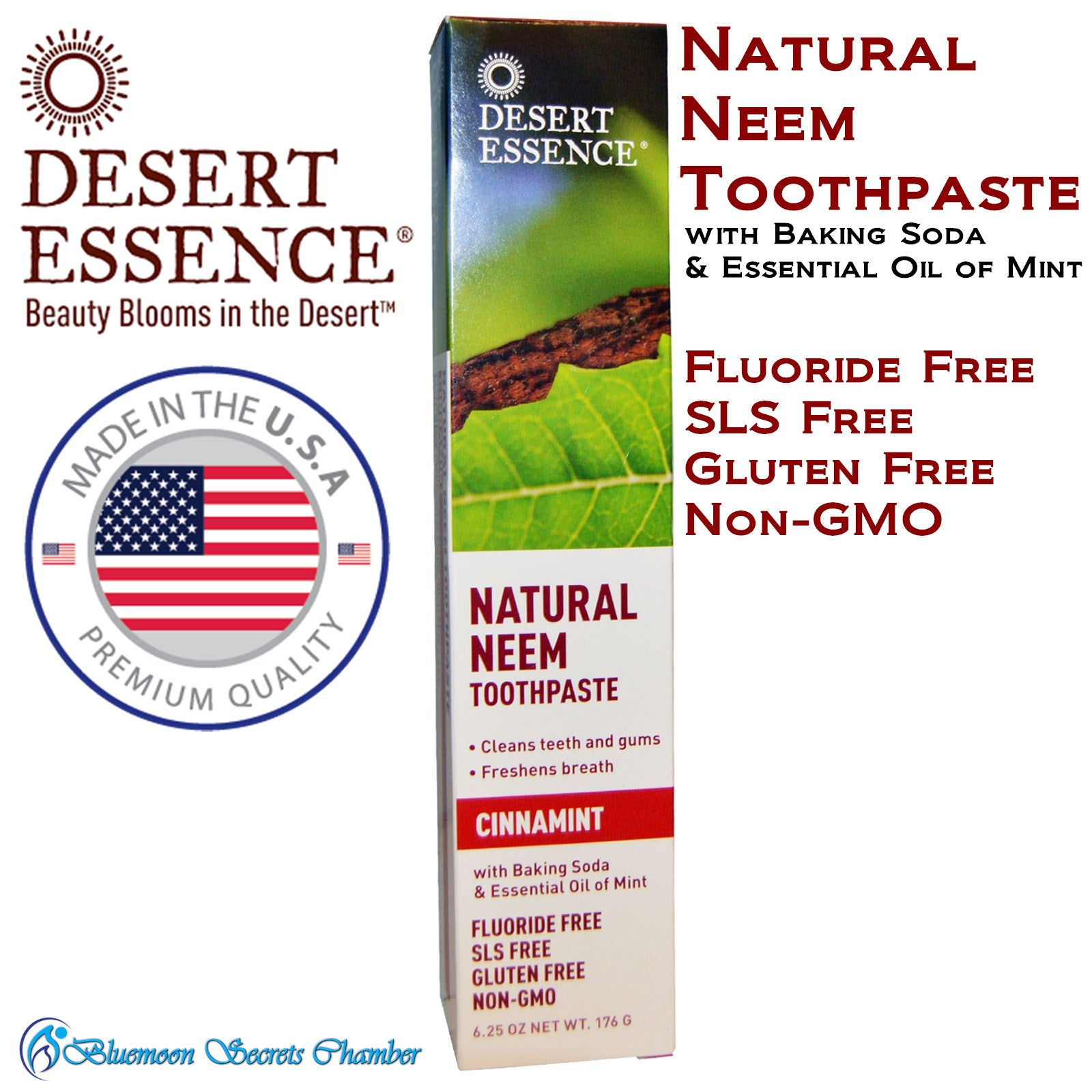 Desert Essence, Natural Neem Toothpaste, Cinnamint, 6.25 oz (176 g) - Bluemoon Secrets Chamber