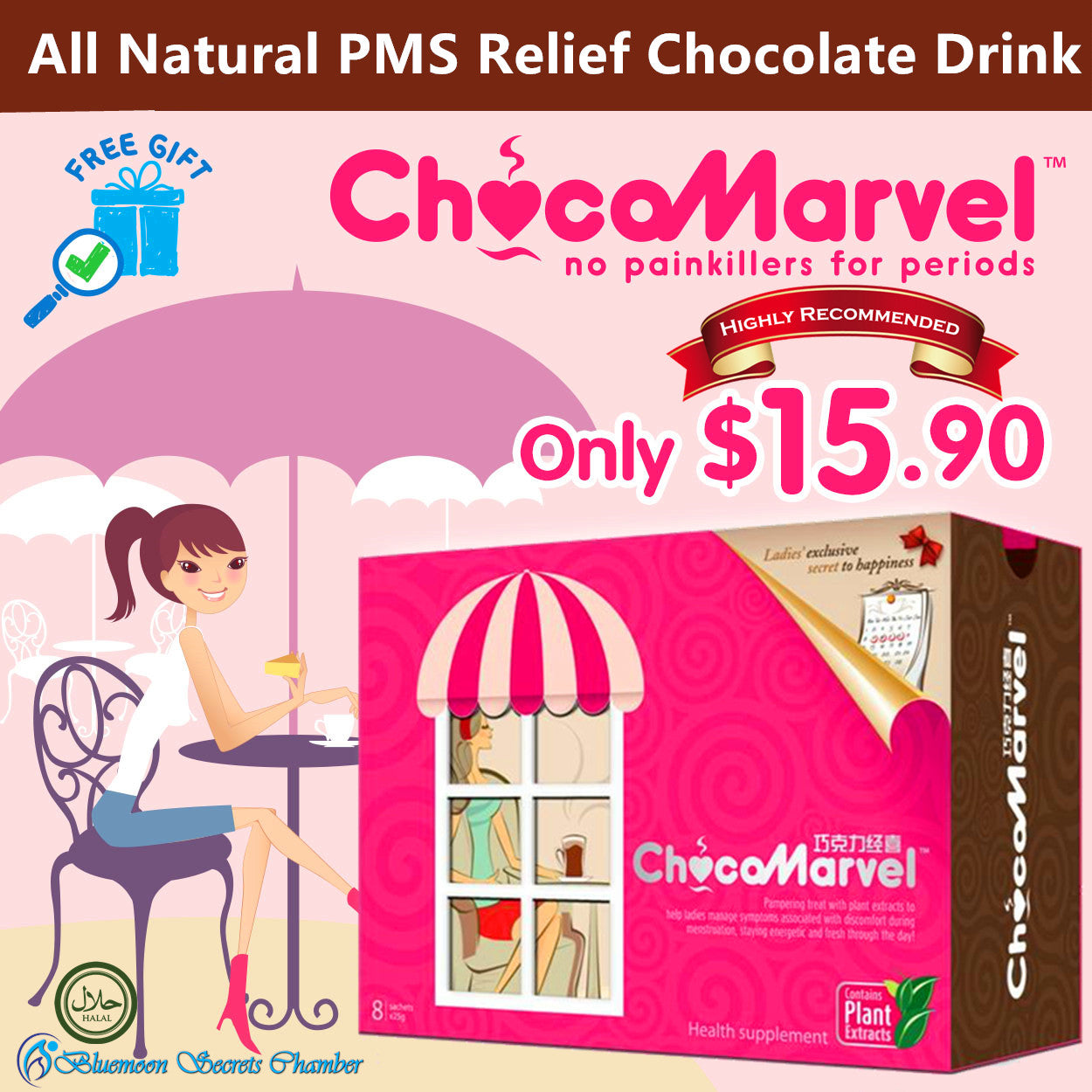 ChocoMarvel™ Natural Menstrual Relief Chocolate Drink ♥ relief cramps and PMS ♥ - Bluemoon Secrets Chamber
