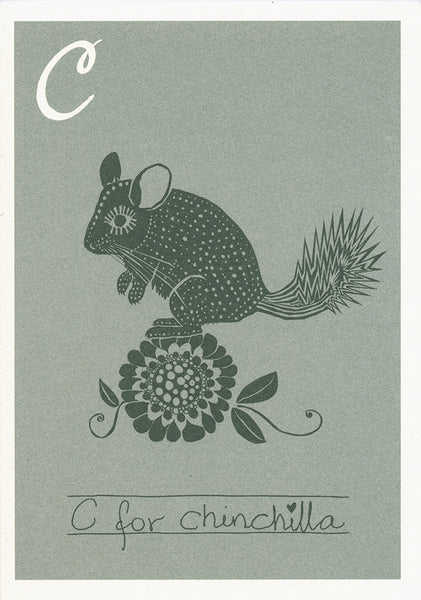 Danish Alphabet card - Chinchilla