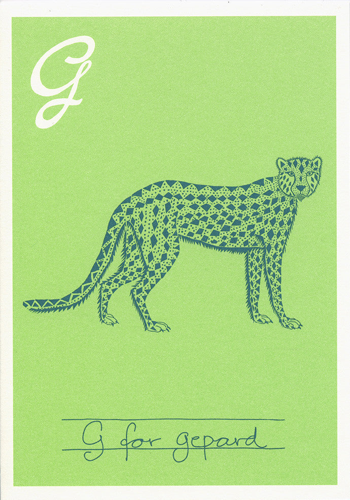 Danish Alphabet card - Gepard