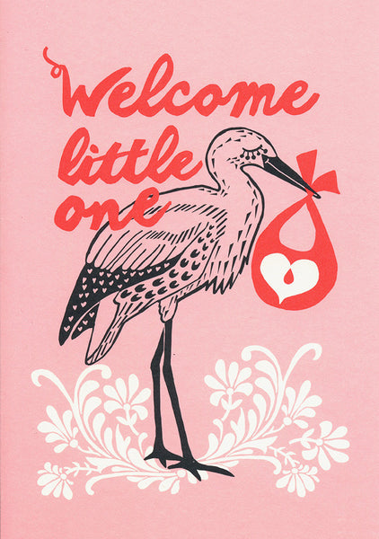 Postcard - Greeting - Welcome little one - Pink