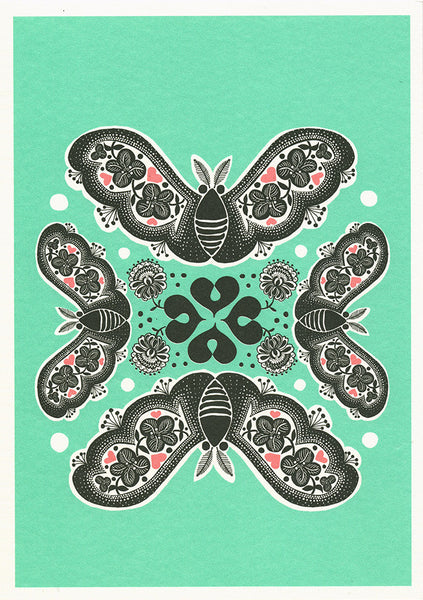 greeting card / Clover Butterflies