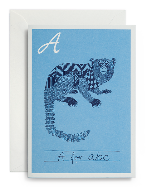 greeting card / Alphabet / A for Abe