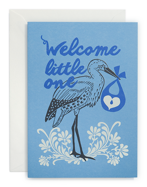greeting card / Welcome little one - Blue