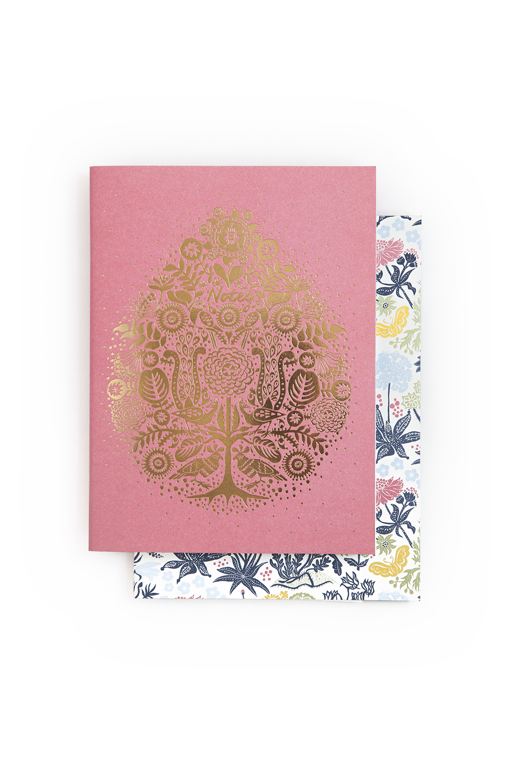 Pink notebooks set - Gold and flowers