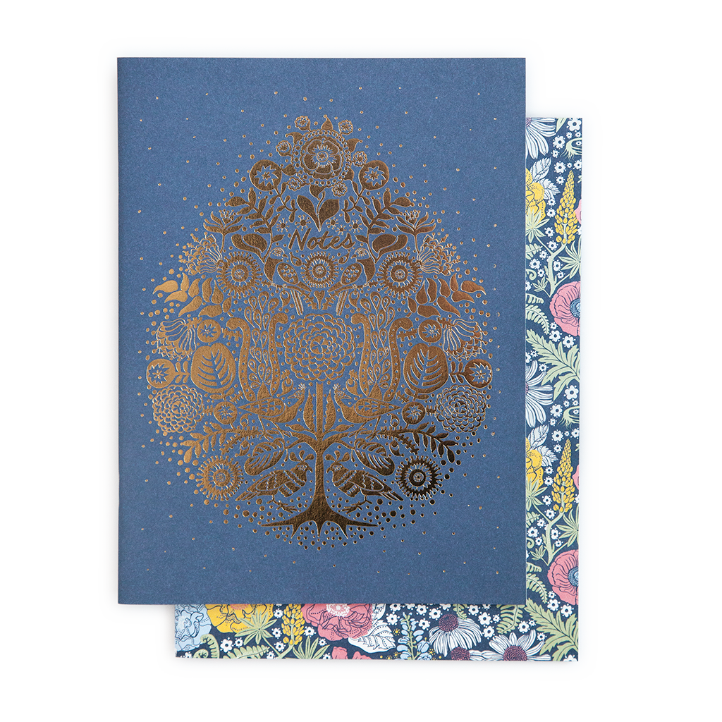 Blue notebook set - Gold and flower