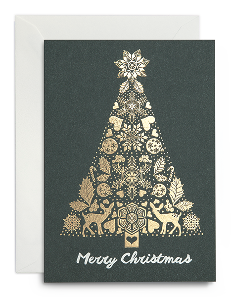 Greeting card / Merry christmas gold tree