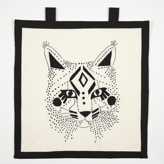 MY EMBROIDERY KIT - BOBCAT WITH BLACK FLOSS COLOR