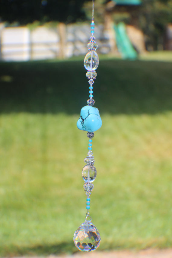 30mm Round Crystal Suncatcher with Torquoise and Sterling Silver beads (0001)