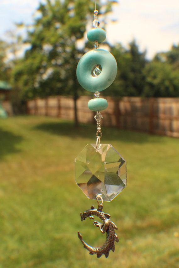 40mm Octagon Crystal with Beautiful Amazonite stones, a Whimsical Dragon Pendant and Swarovski crystal beads (0023)