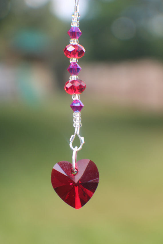 10mm Swarovski Heart shaped Pendant and Swarovski Crystals (0006)