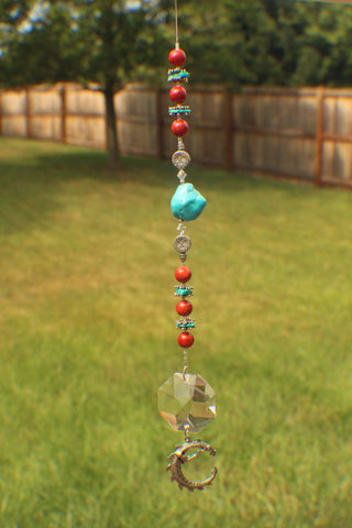40mm Octogan Crystal Suncatcher with Turqouise, Sterling Silver, swarovski crystals and Coral beads (0009)