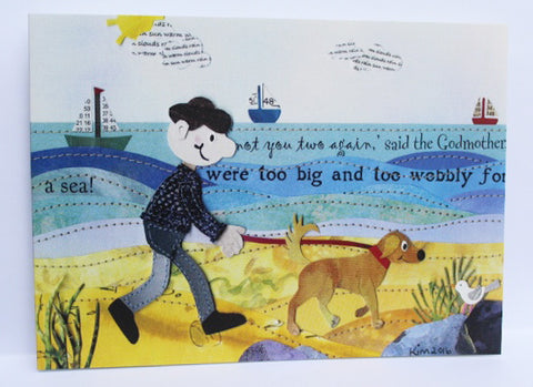 Seaside Walkies Greeting Card