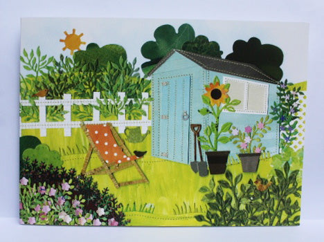 Blue garden shed Greeting Card