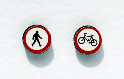 Round Traffic Sign Earrings