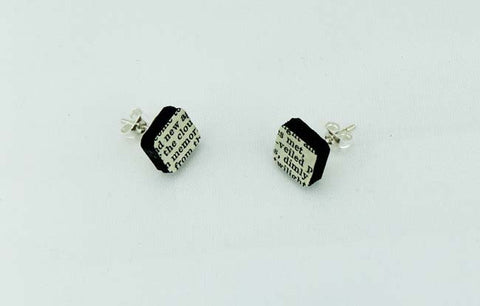 Square Old Print Earrings