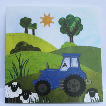 Blue tractor greetings card