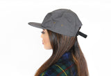 Canvas Five Panel Strapback Hat - Grey