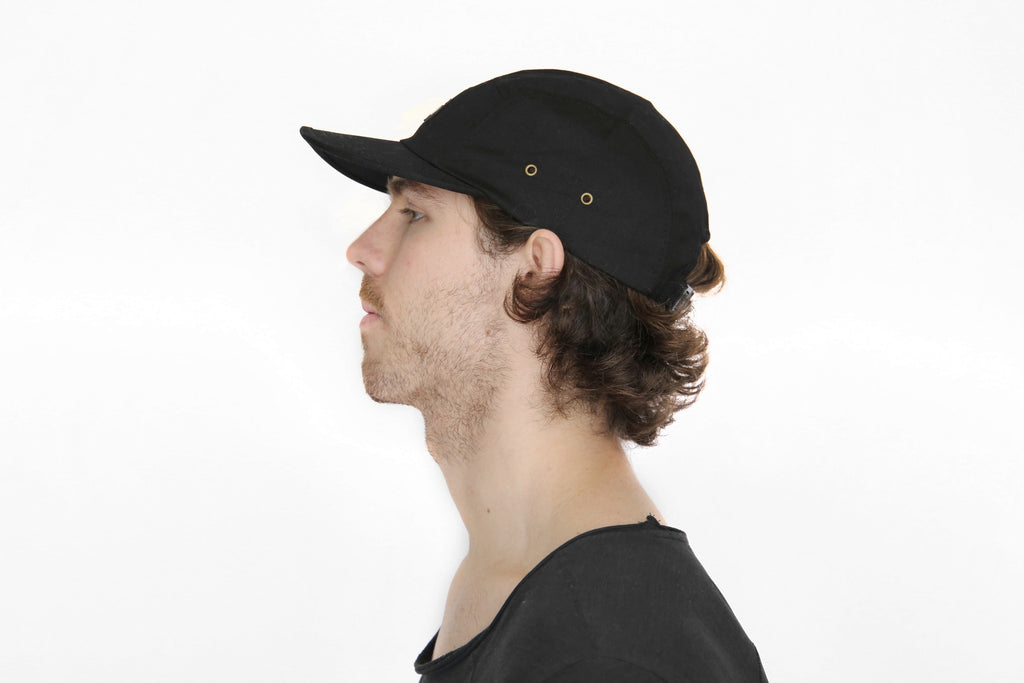Canvas Five Panel Strapback Hat - Black