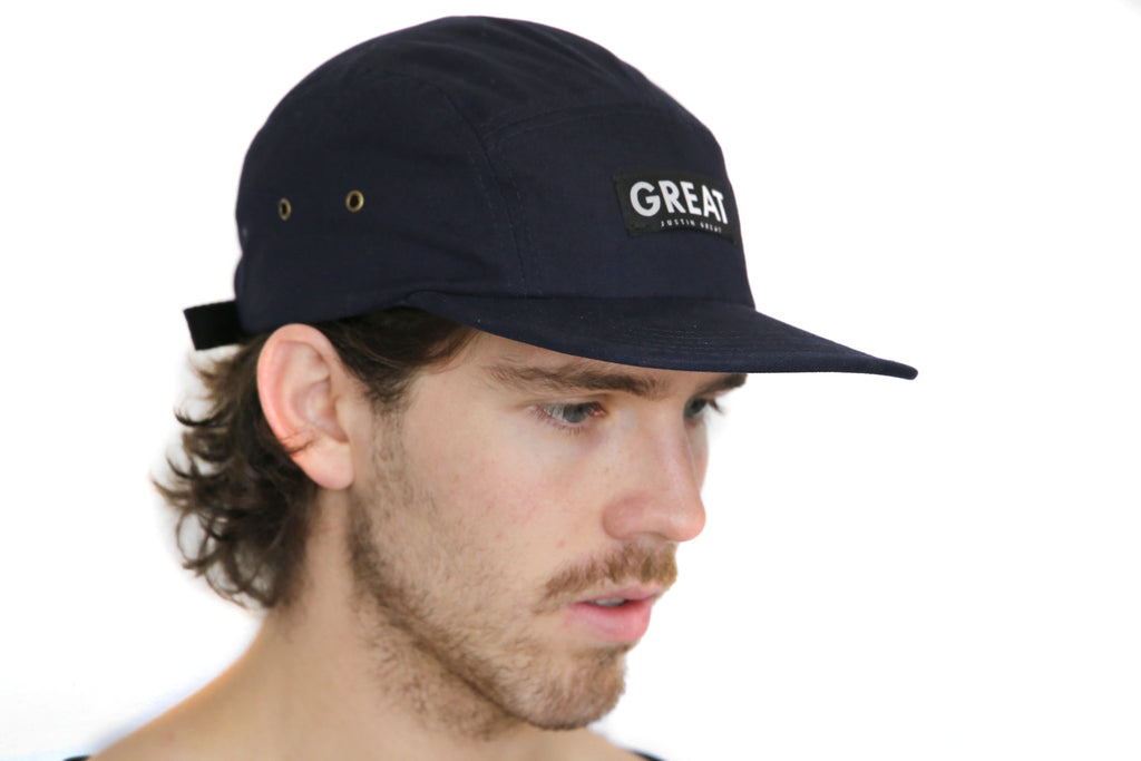 Canvas Five Panel Strapback Hat - Navy