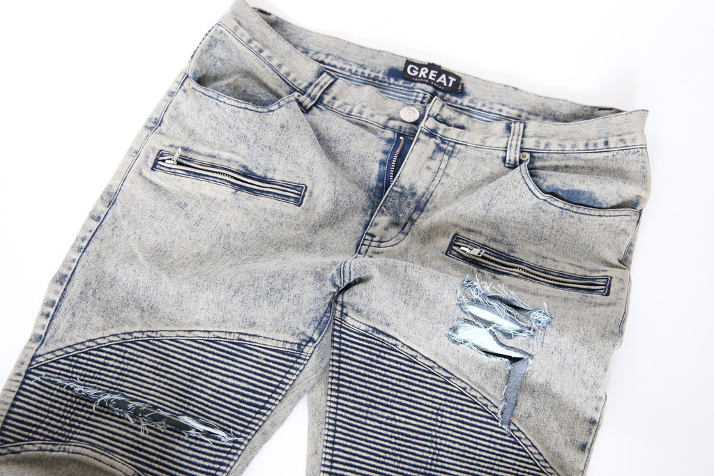 Distressed Slim Fit Biker Jeans (Acid Wash)
