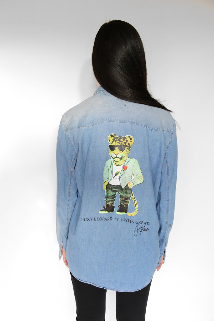 Justin Great X Luxpiration Luxy Leopard Denim Shirt