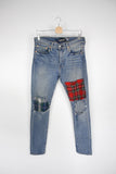 Oversized Plaid Patch Jean