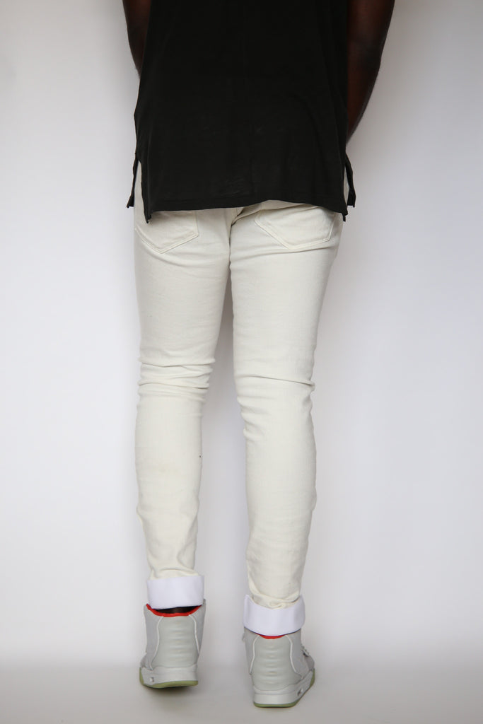 Slim Fit Auto-Taper Jeans (Off-White)