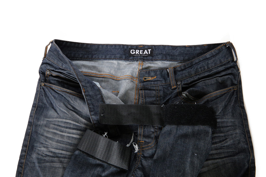 Slim Fit Raw Edge Auto-Taper Jeans