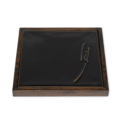 Black Glaze Square Plates with Wood Frames