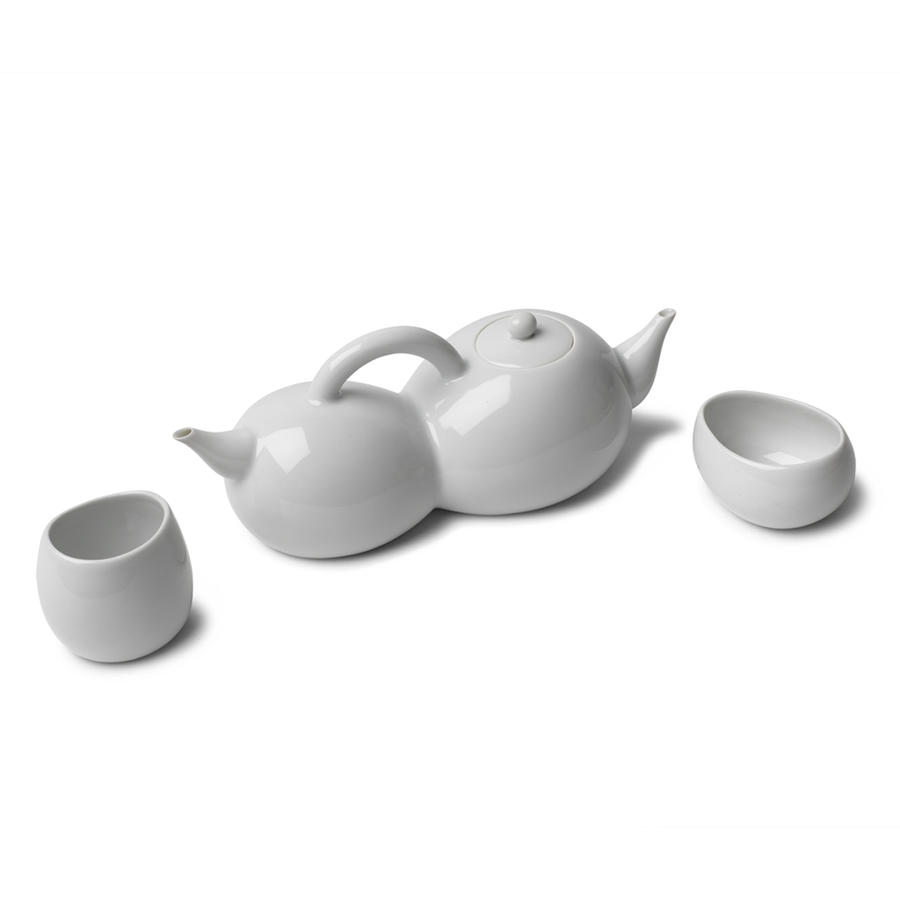 2 Teapots with 1 Handle Tea Set