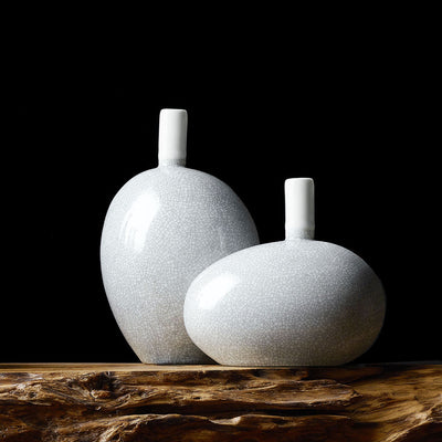 Crackled Glaze Egg Vase Set