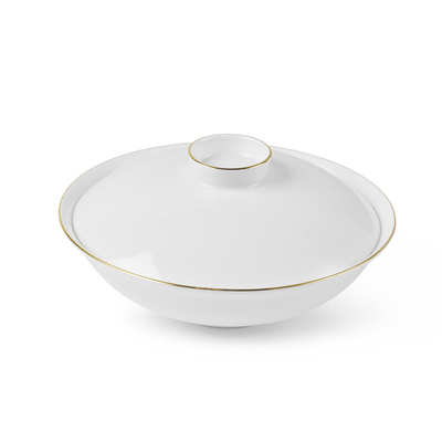 Golden Rim White Bowl with Lid