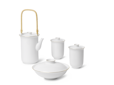 Golden Rim White Cup with Lid Set
