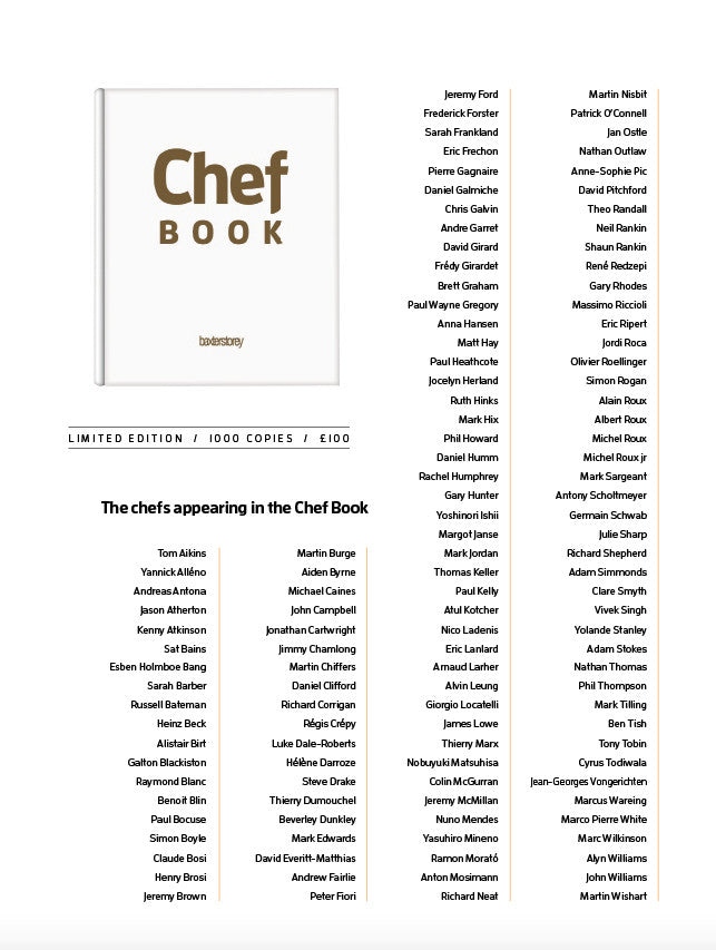 A list of the Chefs in the amazing book