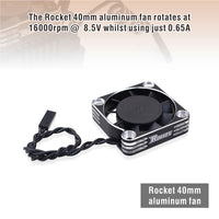 ROCKET ALUMINUM 40X40X10 16000RPM COOLING FAN (SILVER&BLACK) FOR MOTOR