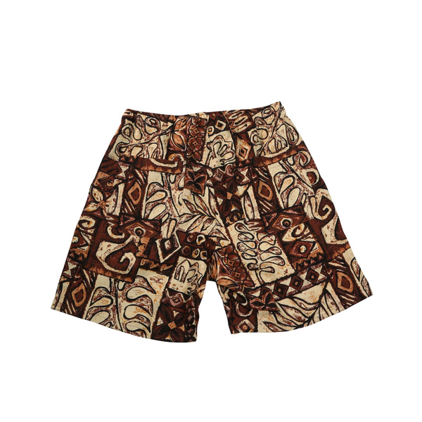 Active Lazy Shorts, Brown Print
