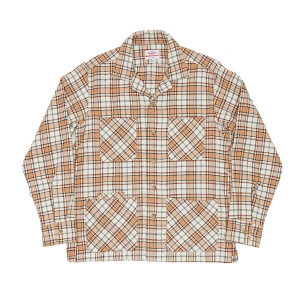 Five Pocket Canyon Shirt, Beige Plaid Heavy Flannel