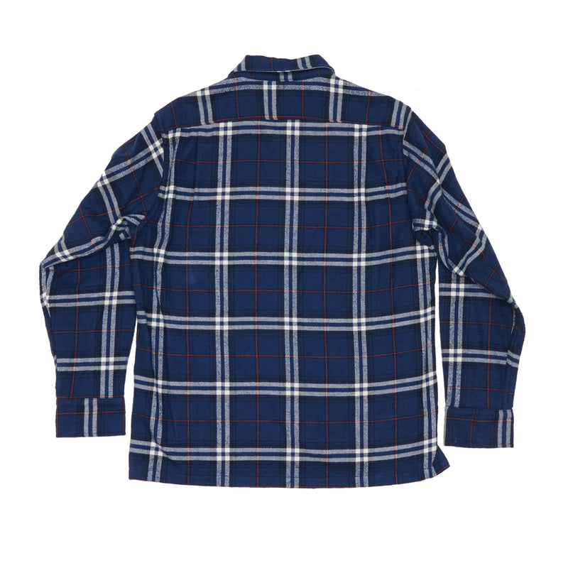 Five Pocket Canyon Shirt, Navy Plaid Heavy Flannel