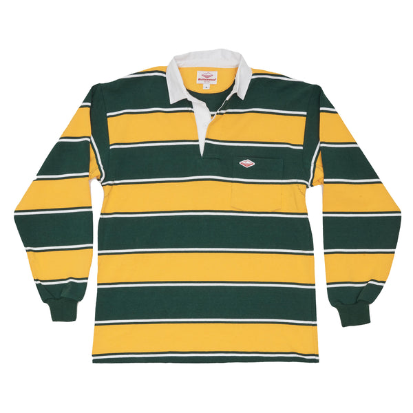 Pocket Rugby Shirt, Gold x Green x White Soho Stripe 12oz Jersey