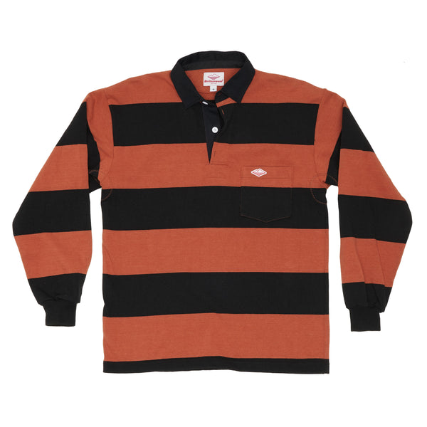 Pocket Rugby Shirt, Rust x Black 4-in Stripe 12oz Jersey