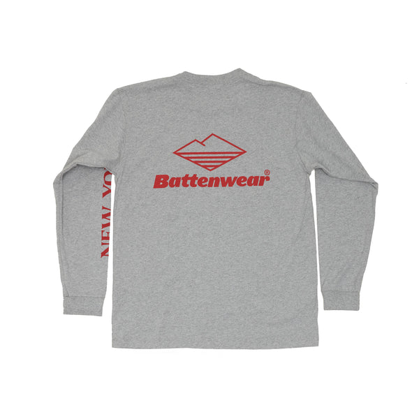 NY L/S Basic Pocket Tee, H Grey