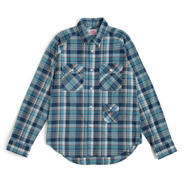 L/S Camp Shirt, Blue Plaid